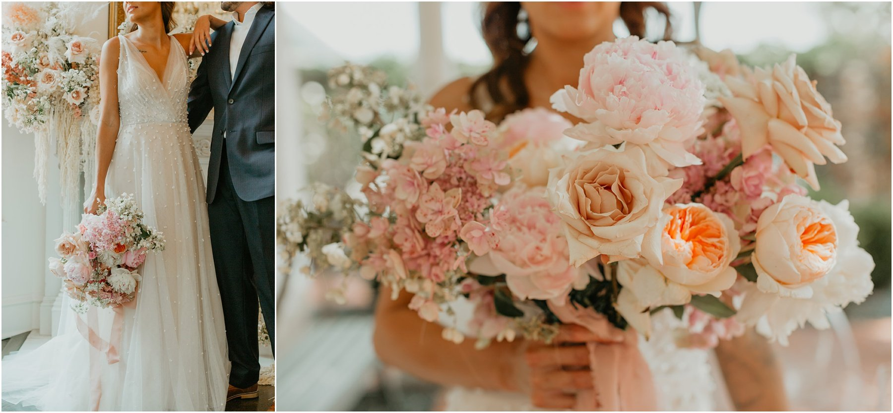 lush bridal bouquet with blush and peach roses