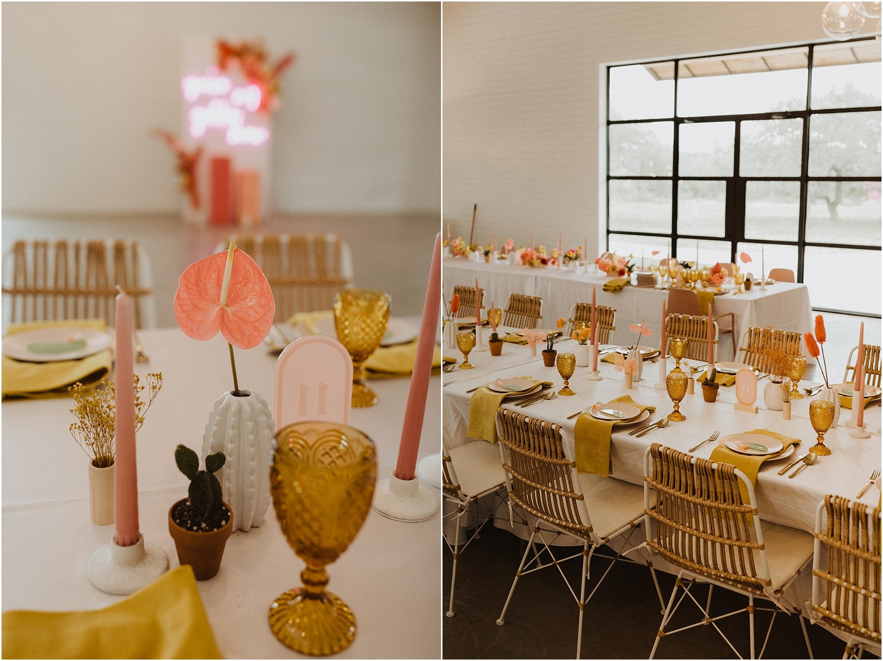 wedding reception set up with blush chairs, mustard napkins, amber goblets and colorful florals