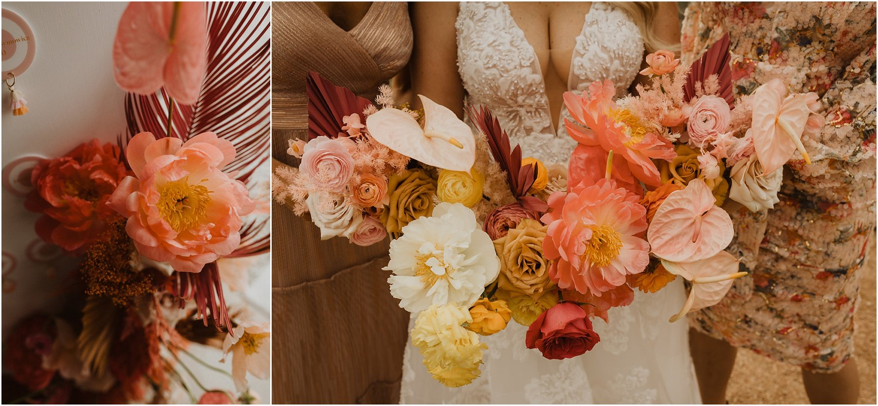bride and bridesmaids carrying a bright and colorful bouquet with coral peonies