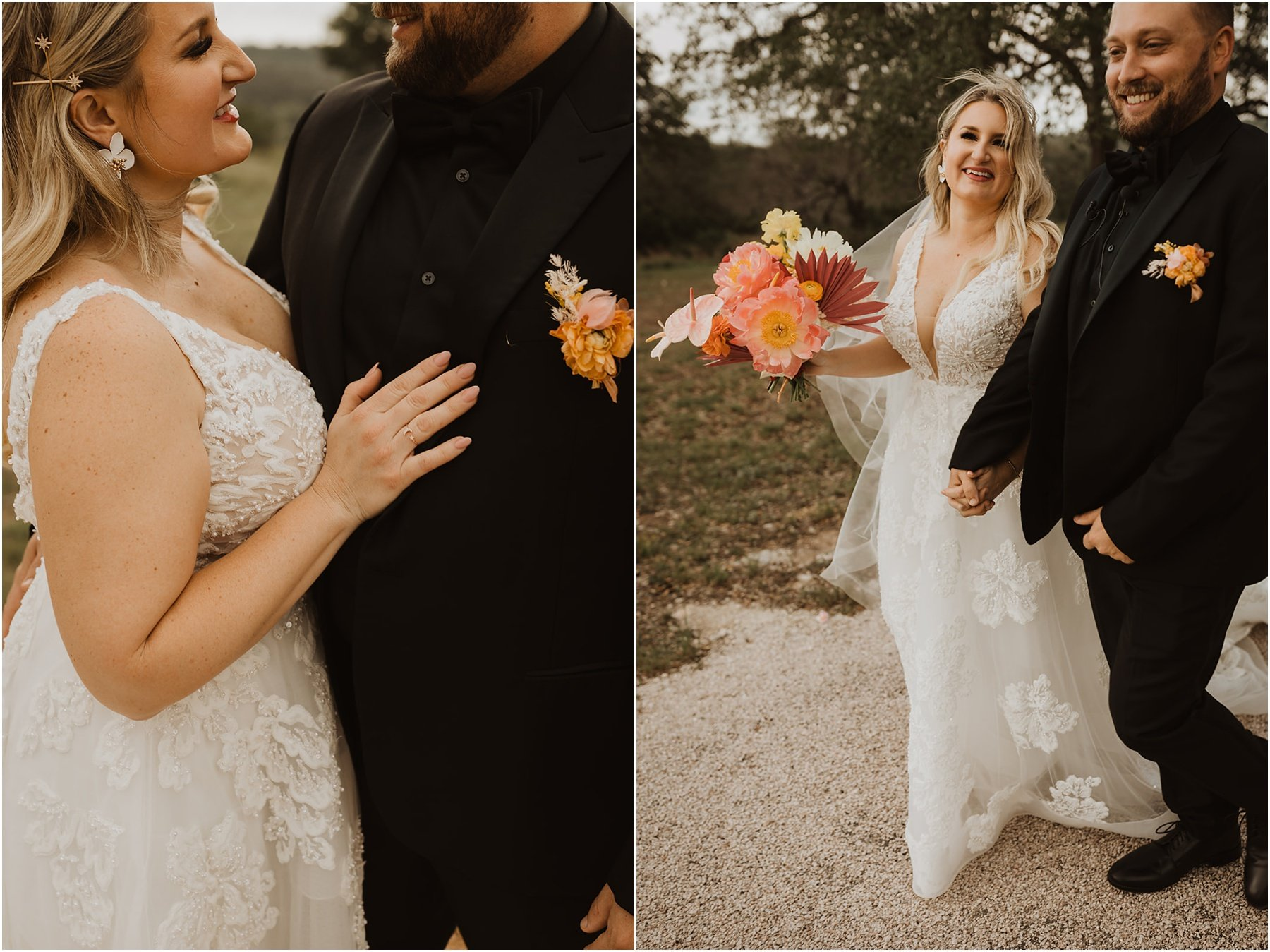 bride and groom wedding portraits, bride carrying a bright and colorful bouquet