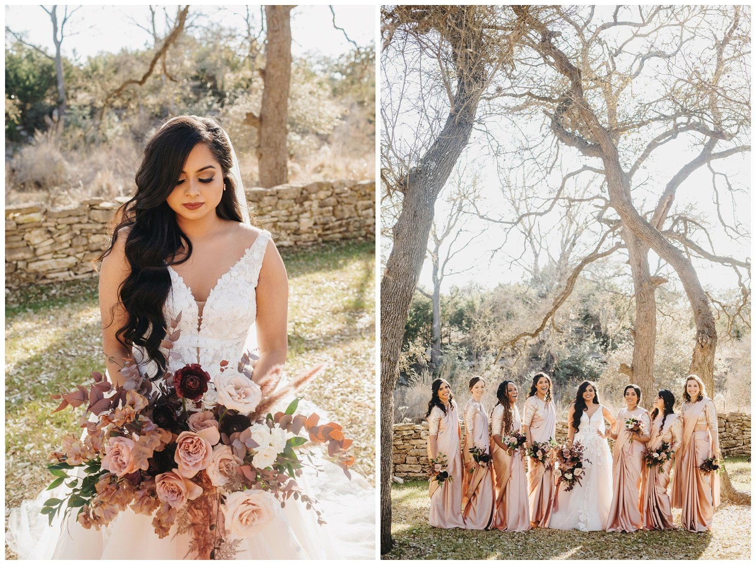 bride and bridesmaids holding blush and mauve bouquets