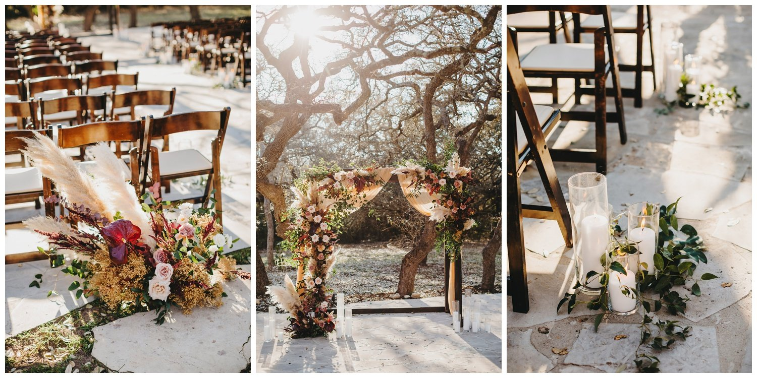 ceremony set up with burgundy, blush and mauve flowers and pampas grass