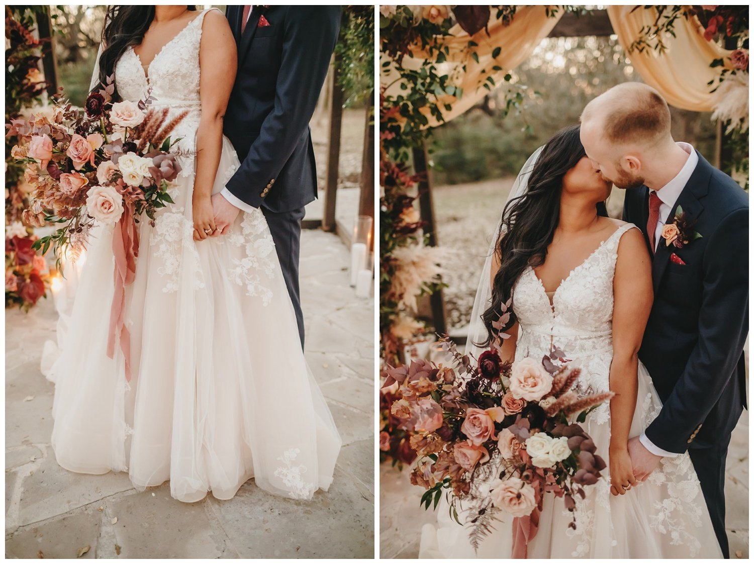 bride and groom standing in front of ceremony set up with burgundy, blush and mauve flowers and pampas grass