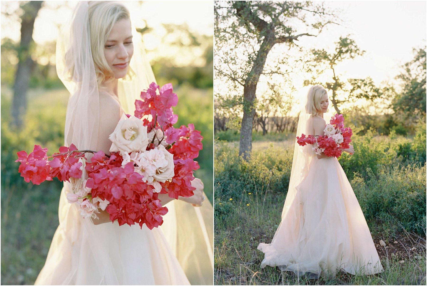 bride holding fuchsia bougainvillea bouquet