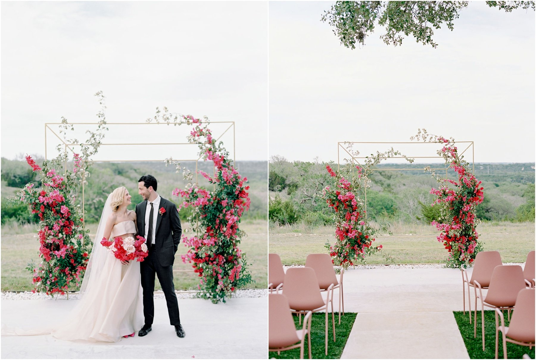 Ceremony floral arch with fuchsia bougainvillea florals, bride holding hot pink bougainvillea bouquet