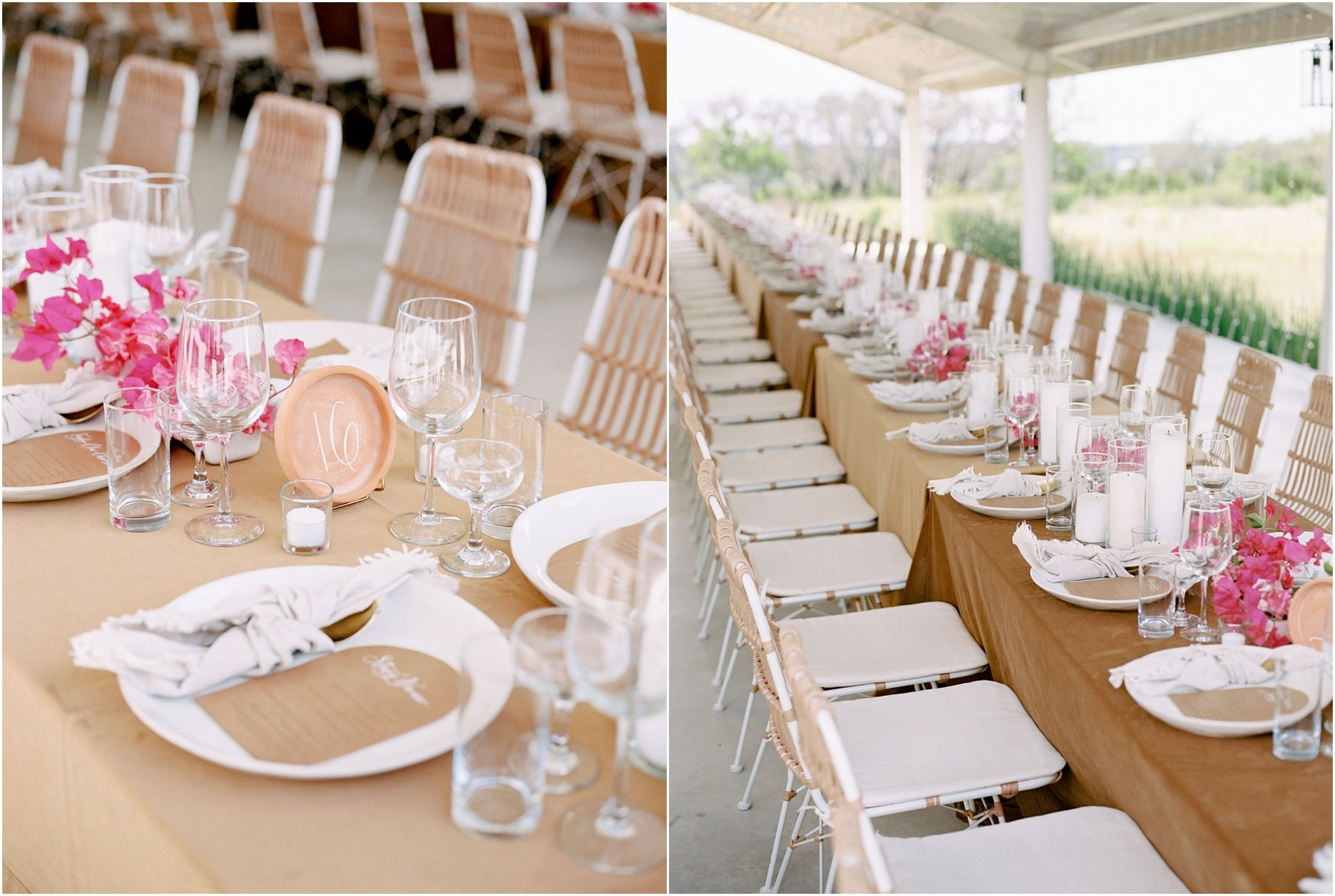 wedding reception tables with wicker chairs and bougainvillea florals