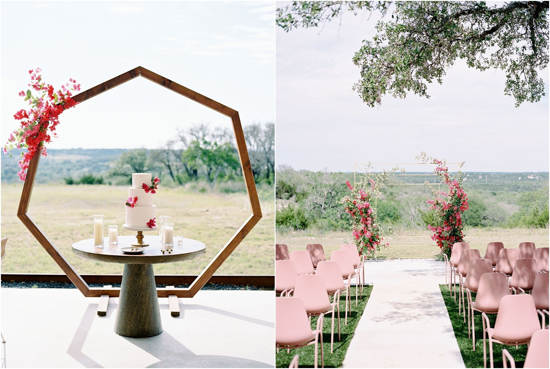 wedding ceremony set up with blush chairs and a bougainvillea floral arch