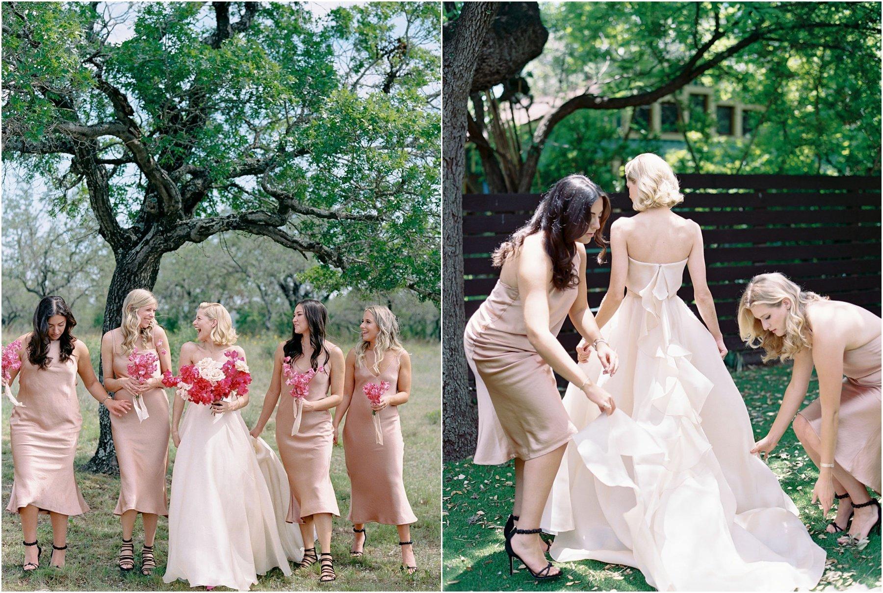 Bride and bridesmaids holding fuchsia bougainvillea bouquets