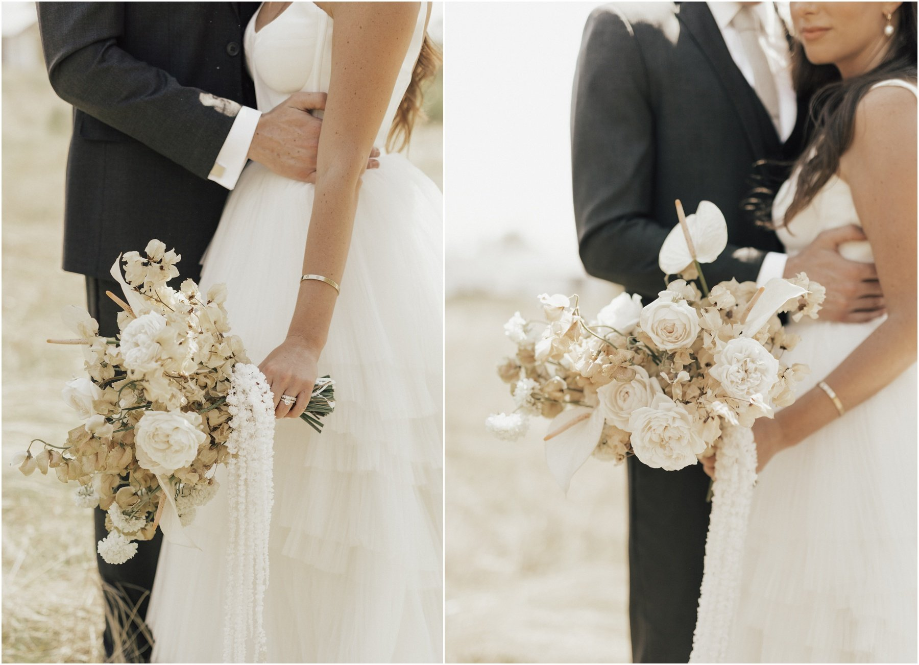 bride holding a modern bouquet of white flowers