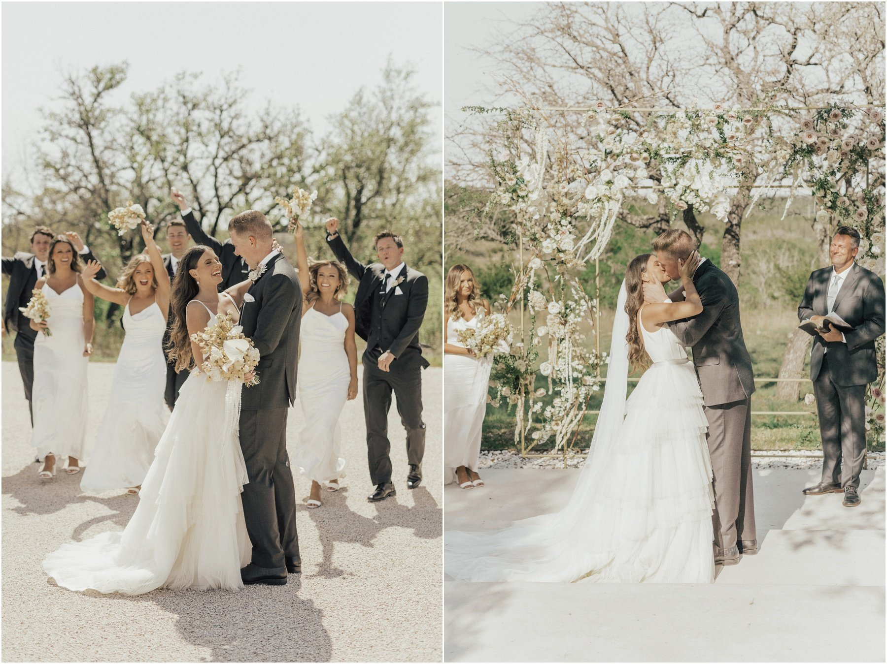 bride and groom ceremony with white modern wedding flowers